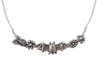 Bat & Flowers Necklace    silver gold jewelry garland jewelry