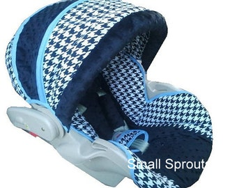 Custom Boutique Black Houndstooth Infant Car Seat Cover 5 piece set