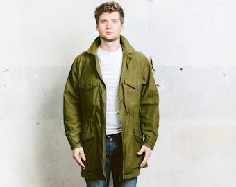 Mens Military PARKA Coat . Vintage Army Jacket Oversized Jacket 1970s Long Army Green Military Army Coat Field Jacket . size Large