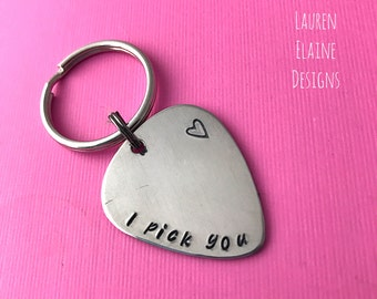 I Pick You Hand Stamped Guitar Pick Keychain- Pick Your Own Font- In Brass, Copper, or Aluminum