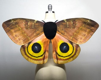 In Stock -- io Moth Costume Wings, Fairy Wings, Halloween Costume, Moth Wings Burning Man, Butterfly Wings for Adult Women