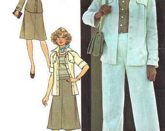 1970s Shirt Pattern Jacket Skirt Wide Legged Pants Vintage Simplicity Sewing Uncut Women's Misses Size 12 Bust 34 Inches