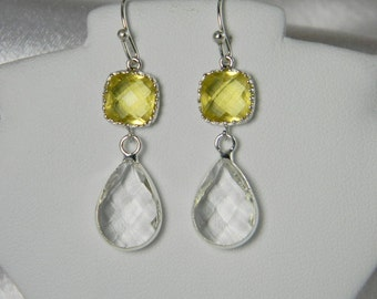 Crystal Canary Yellow / Clear Silver Bridesmaid Earrings Bridesmaid jewelry,Clear Teardrop Lemon,Canary, Citrine Gold Wedding Jewelry TDS1