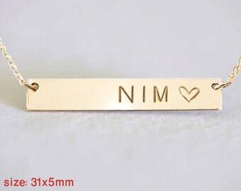Gold bar Necklace, Rose /Silver Bar Necklace, Custom Gold Bar, Engraved Necklace, Name Bar Necklace, Personalized Gold Bar Necklace