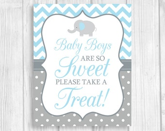 Baby Boys Are So Sweet Please Take A Treat 5x7, 8x10 Printable Elephant Baby Shower Candy Buffet Sign in Light Blue Chevron Gray Polka Dots