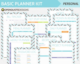 Basic Planner Kit, Filofax Personal Filofax Inserts, Filofax Printable Planner, Expense Tracker, Password Log, Daily Planner
