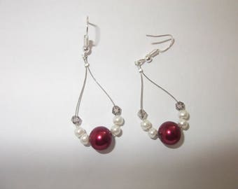 Bordeaux red crystal and glass beads earrings