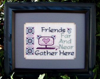 """Cross Stitch Instant Download Pattern """"Friends Far And Near"""" Counted Embroidery Chart Friendship Sentiment Saying Technology X stitch"""