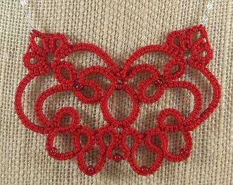 """Lace Butterfly Tatted Necklace, Red, Handmade lace jewelry, Sterling silver chain, 18"""""""