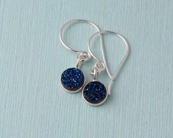 Blue Druzy Drop Earrings / round blue druzy earrings / dangle earrings