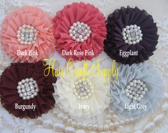 Choose from 11 COLORS - Ruffled and Pleated with Sewn In Pearl and Rhinestone Centers by Hair Craft Supply