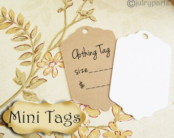 20•MINI TAGS #12 • 1.5 X 2.25 inch•Necklace Tags•Bracelet Tags•Price Tags•Clothing Tags•Favor Tags•Wedding Tags
