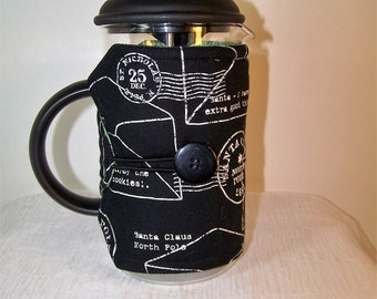 Santa letter, French Press Cozie, Insulated Coffee Pot Cozy, Bodum 8 Cup Press Pot Cosy, Hot Pot Sleeve Cozie