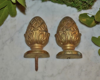 Antique Pair French Bronze Pinecone Finials Drapery Ormolu Hardware