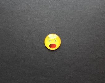 "Cabochon 25mm glass Smiley Emoji Emoticon ""tired"" funny"