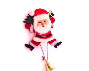 retro kitschy Santa pin with movable arms and legs, Christmas novelty brooch, ugly sweater accessory, stocking stuffer; yesteryears gadget