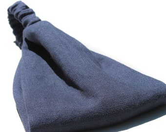 Men's Linen Headwrap, Navy Blue Headband, Dreadlock Headband, Heavy Weight Headwrap, Thick Headband for Men, Navy Head Wrap (#4722) S M L
