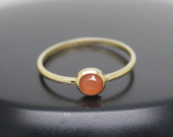 Carnelian Ring, Rose Cut Carnelian Ring, 18k Solid Gold Ring, Thin Gold Ring, Stacking Ring, Stackable Ring, Solitaire Ring