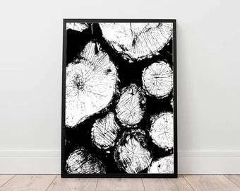 wood grain print, tree rings wall art, forest minimal art, abstract poster, wood photography, minimal decor, block of woods, tree trunks B&W
