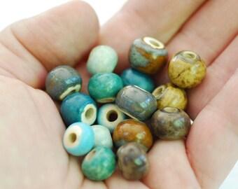 Handmade Ceramic Beads - Round Beads - Made To Order - You Pick The Color Palette - Marsha Neal Studio - Handmade Porcelain Beads