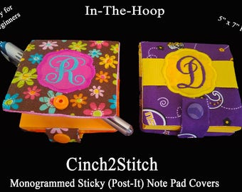 "Monogrammed Sticky (Post-It Note) Notepad Cover - In The Hoop - Machine Embroidery Design - 5""x7"" Hoop"
