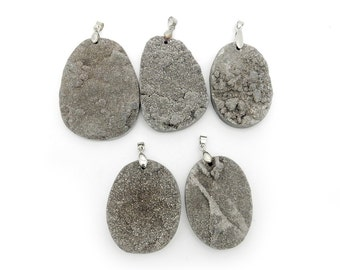 Platinum Colored Round Druzy Titanium Treated Cabochon with Silver Plated Bail - (RK500B2)