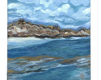 "Azure Ocean- 6"" x 6"" original painting- acrylic on panel- seascape-original art- miniature painting-"