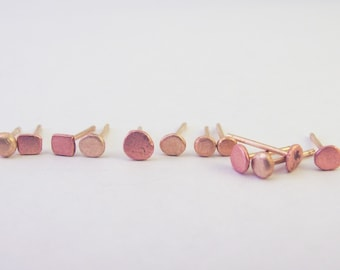 3mm round rose gold stud earrings