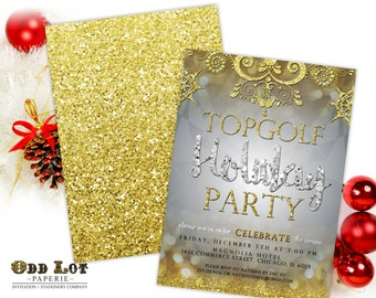 Printable Christmas Party Invitation, Holiday Party Invitation, Silver, Gold, Winter, Snowflakes, Printable Invites, new years party invite