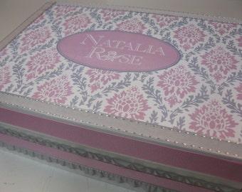 Girl's Keepsake Box  Personalized Pink and Gray Damask