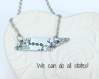 Floral Tennessee Necklace - Tennessee Jewelry - Home Necklace - TN Necklace - TN Jewelry  Charm Necklace - Nashville Necklace - Vols Jewelry