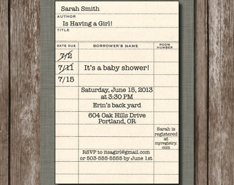LIbrary Card Invite for Book Themed Shower//Library Card//Retirement//Birthday//Book Club