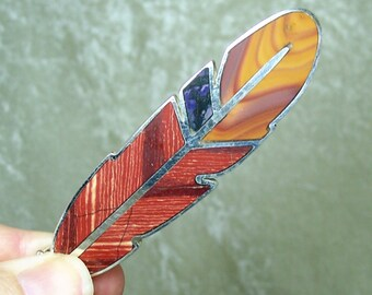 REVERSIBLE Stone Inlay Feather Centerpiece - Jasper, Sugilite, and Sterling Silver