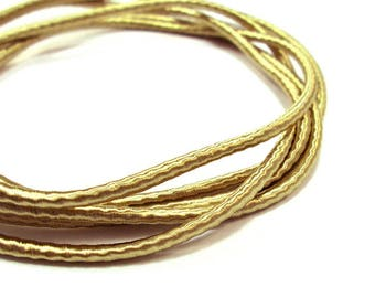 Wrapped silk cord, satin cord, golden beige, 2 meters