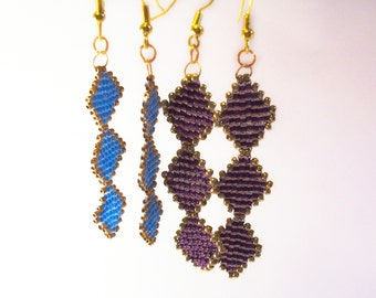 Stained Glass Earring Pattern, Beading Tutorial in PDF