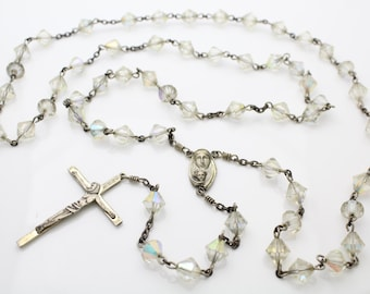 """Vintage Full Length Sterling Silver Rosary Necklace w AB Crystal Beads 24"""". [221]"""