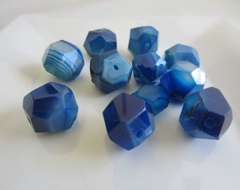 Blue Agate Nugget Beads - qty. 5 beads
