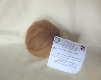 2 oz Medium Fawn Alpaca SUPERFINE (Gladiola) Roving - for Spinning, Nuno Felting or Needlefelting