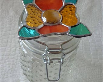 Stained Glass Flower Mason Jar