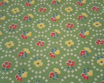 FQ Vintage FEEDSACK fabric - 18x20 - GREEN red and yellow