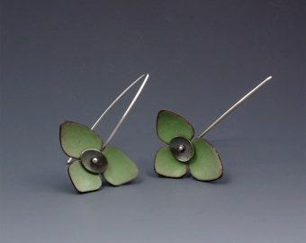 Leaf green seed pod earrings