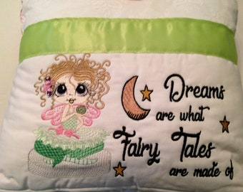 Pocket pillow fairy reading green pink child reading pillow pink silver fairy fabric zip close green satin trim pink silver fairies back