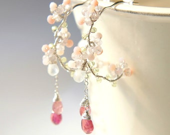 Cherry Blossoms Earrings, Pink Tourmaline Wedding Silver Earrings, Japanese Jewelry, Nature Inspired