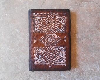 Notebook - ethnic sketchbook - journal - diary - gift for Traveler - ethnic diamonds