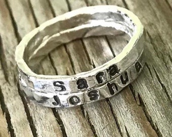 stackable name ring, ONE personalized fine silver ring, gift for her, stacking rings, girlfriend gift, personalized name rings pebbleandore