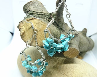 Turquoise Stone Chip Chandelier Earrings
