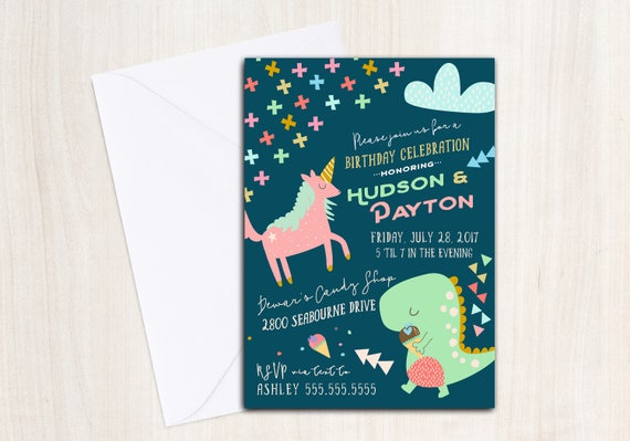 Unicorn Dino Invitation - Dinosaur Unicorn Party Invite - Printable Party Supplies