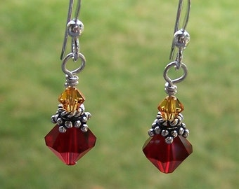 Harry Potter Inspired Gryffindor House Colors Earrings Swarovski and Sterling Silver