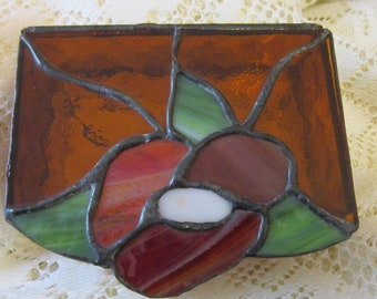 """Vintage Flower Design Leaded Stained Glass Trinket Box with Mirror Inside 5.5"""" x 3.5"""" x 1.75""""T"""