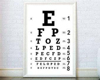 Eye Chart Wall Art, Eye Chart Print. Eye Chart Poster.  Glasses, Eyes, Optometrist Optician Gift Optometrist Decor. Optometry Eyechart Print